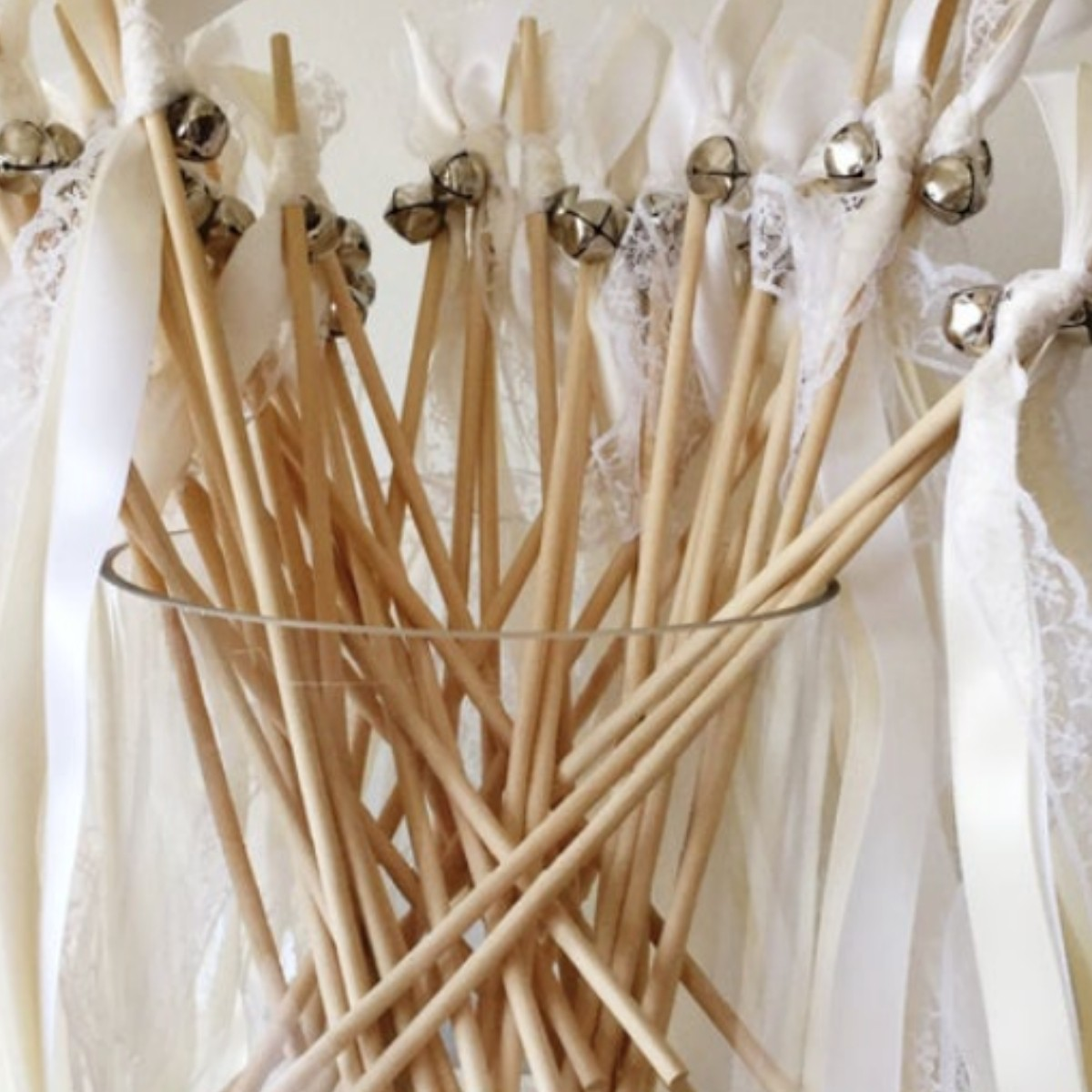 Creative and Fun Wedding Exit Send-off: bells on a ribbon wand