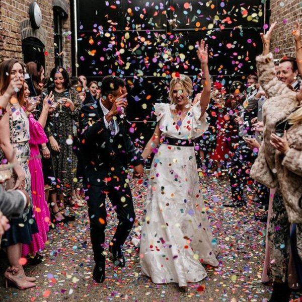 Creative and Fun Wedding Exit Send-off: confetti