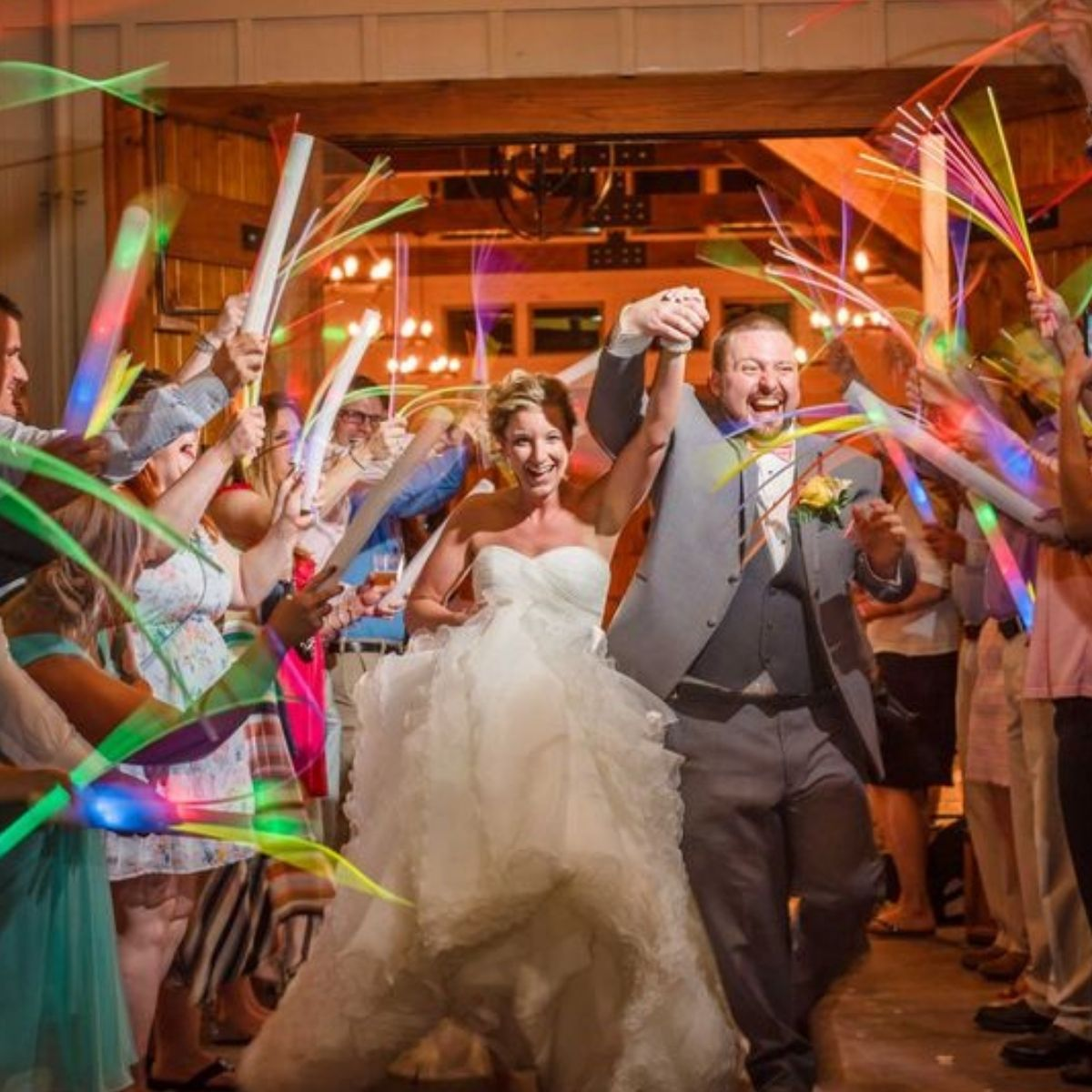Creative and Fun Wedding Exit Send-off: glow sticks