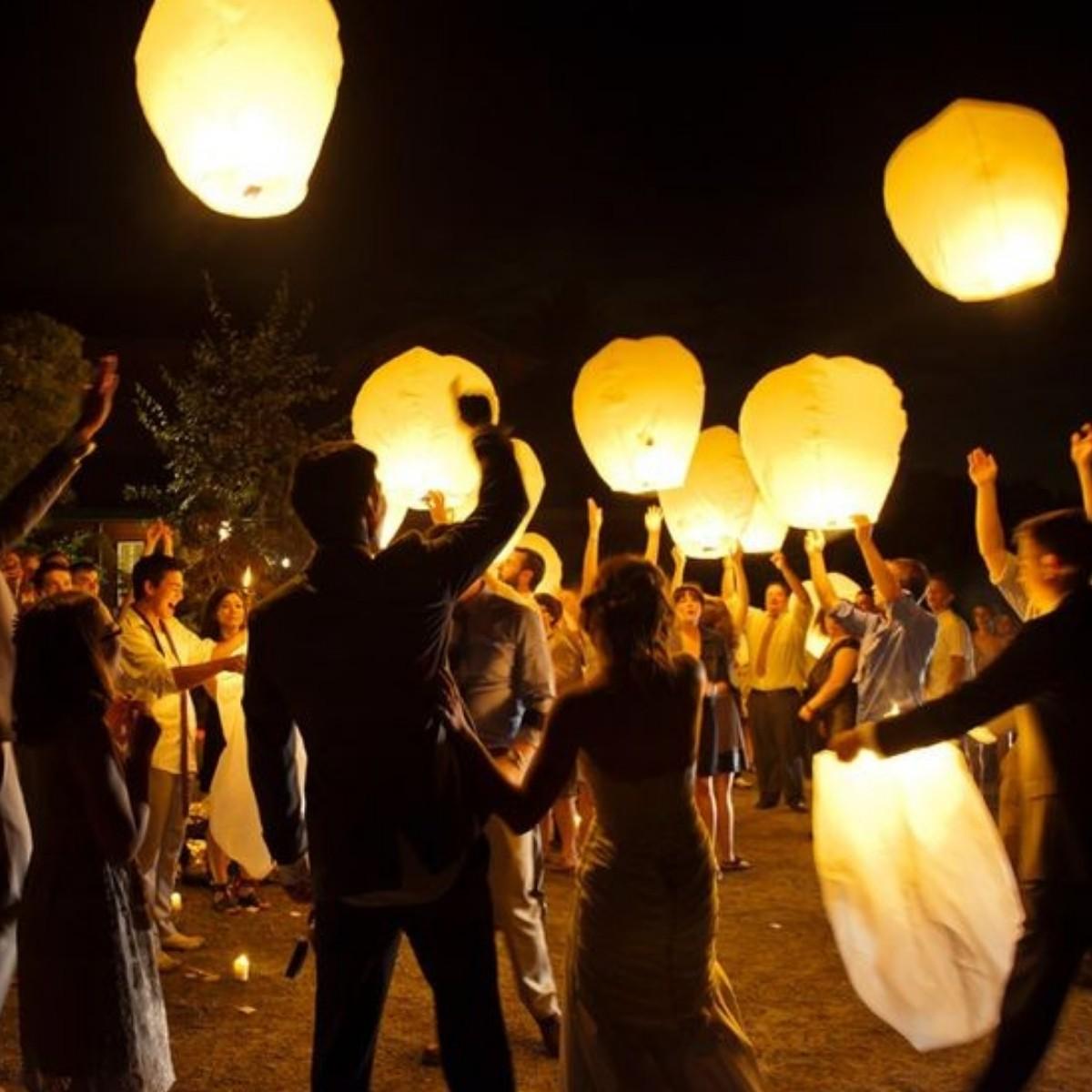 Creative and Fun Wedding Exit Send-off: lanterns