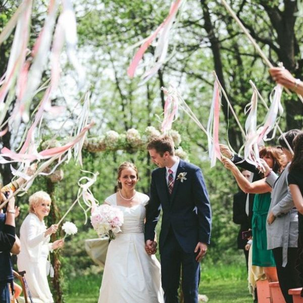 Creative and Fun Wedding Exit Send-off: ribbon wands