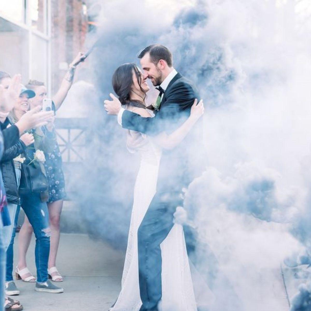 Creative and Fun Wedding Exit Send-off: smoke bombs