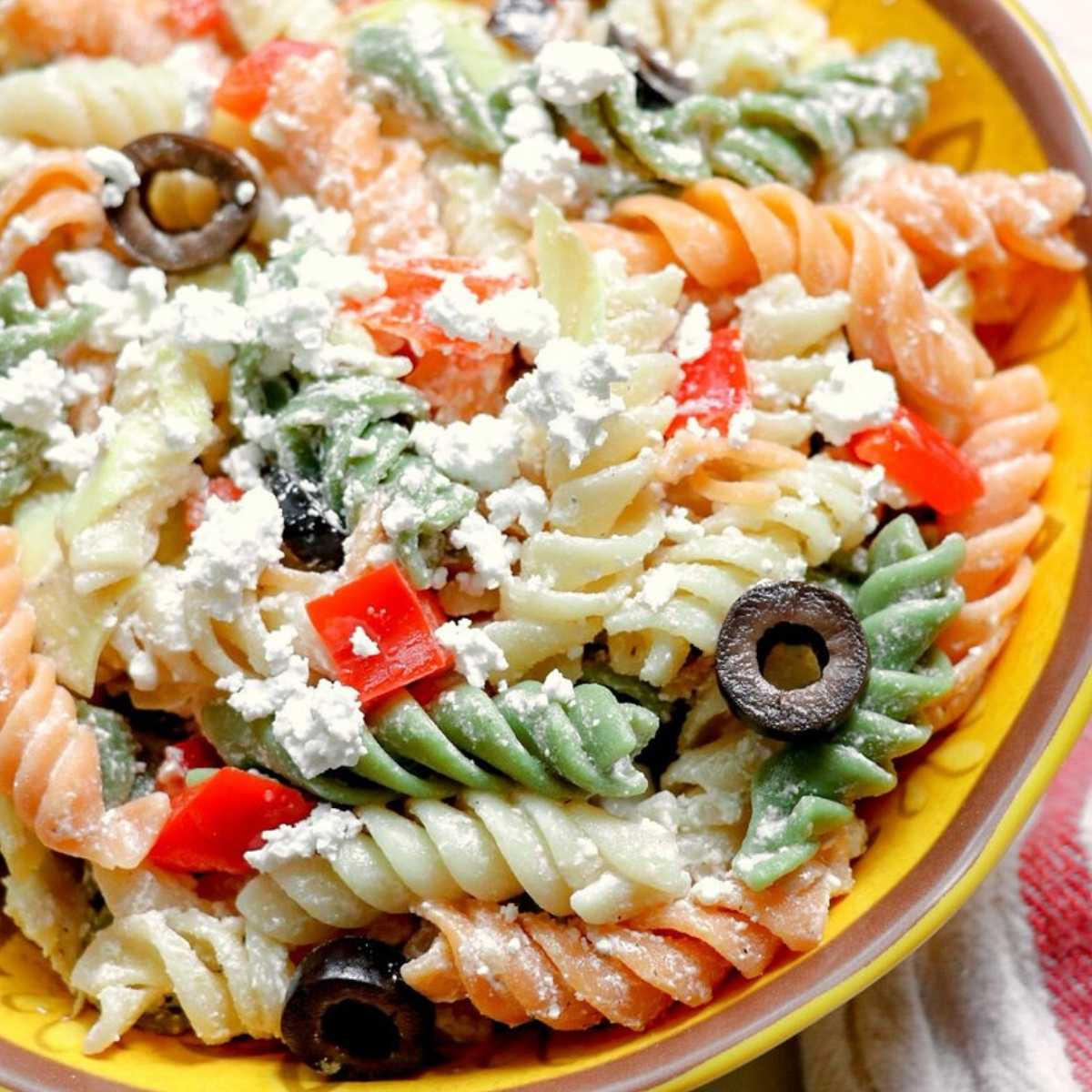 7. Tri-Colored Pasta with Feta Cheese