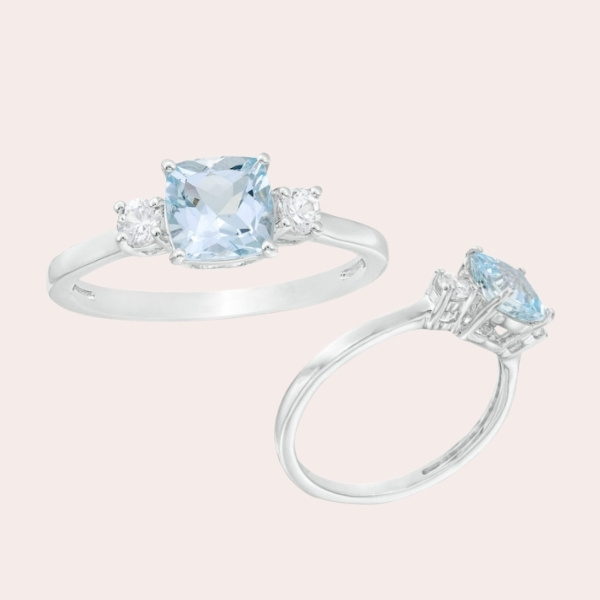 4.-6.0mm-Cushion-Cut-Aquamarine-and-Lab-Created-White-Sapphire-Three-Stone-Ring-in-Sterling-Silver - engagement