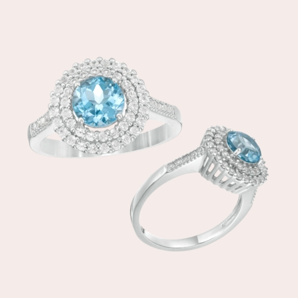 3. 6.5mm Swiss Blue Topaz and Lab-Created White Sapphire Double Frame Ring in Sterling Silver - engagement