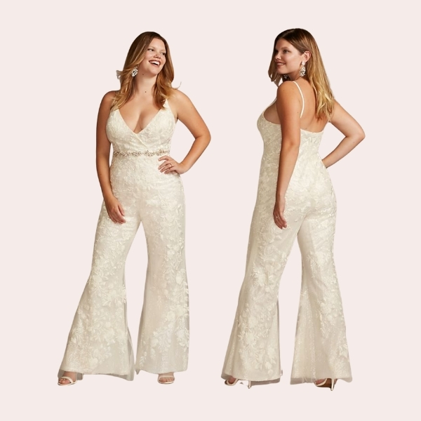 Floral Overlay Plus Size Flare Wedding Jumpsuit