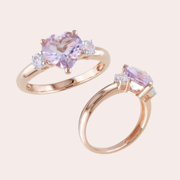 2. Heart-Shaped Rose de France Amethyst and Lab-Created White Sapphire Ring in Sterling Silver with Rose Rhodium - engagement