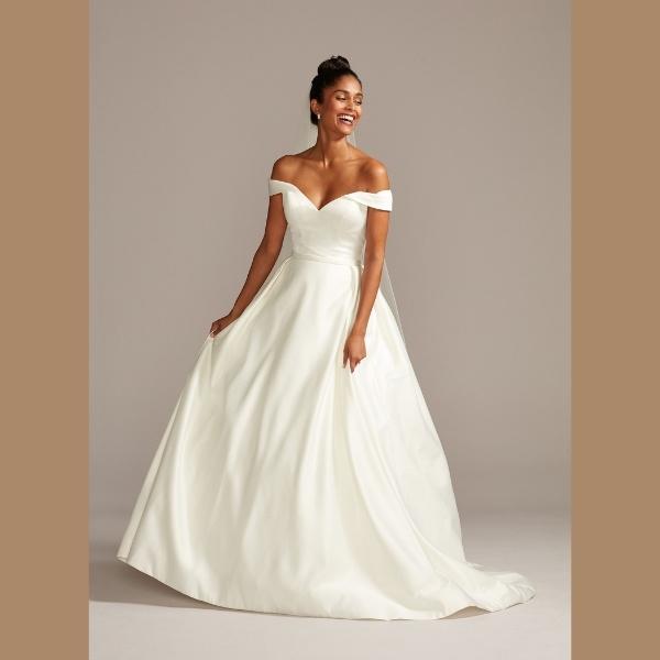 4. Off the Shoulder Satin Ball Gown Wedding Dress