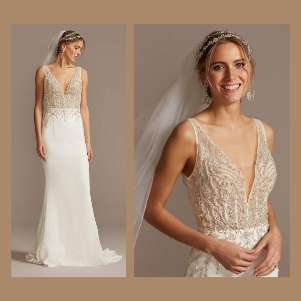 5. Sheer Plunge Beaded Corset Crepe Wedding Dress -