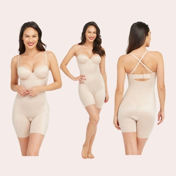 Suit Your Fancy Strapless Cupped Mid-Thigh Bodysuit