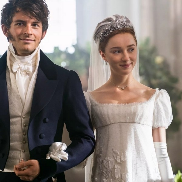 Bridgerton Inspired Wedding Style - daphne walking down the aisle