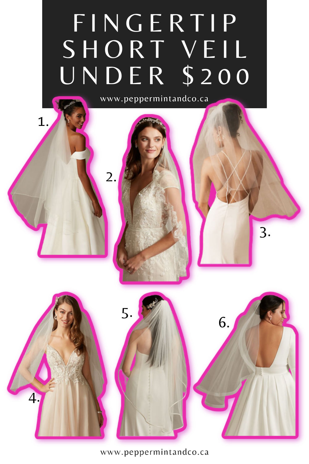 Fingertip Short Veils Under $200