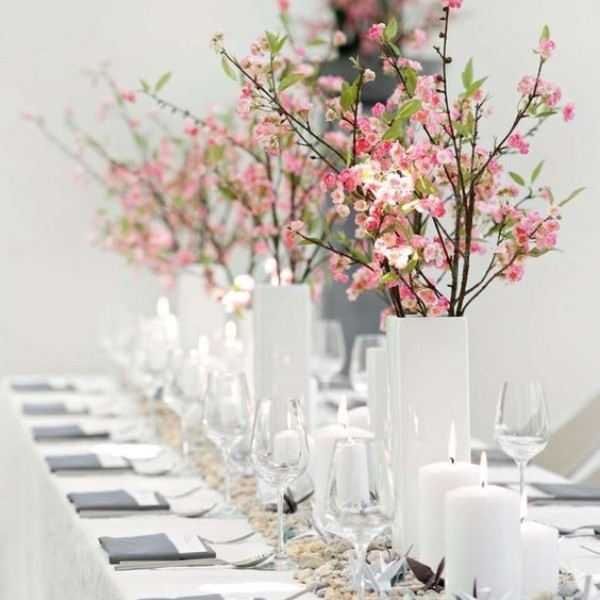 Easy & Affordable DIY Wedding Centerpiece - cherry blossom and white vase