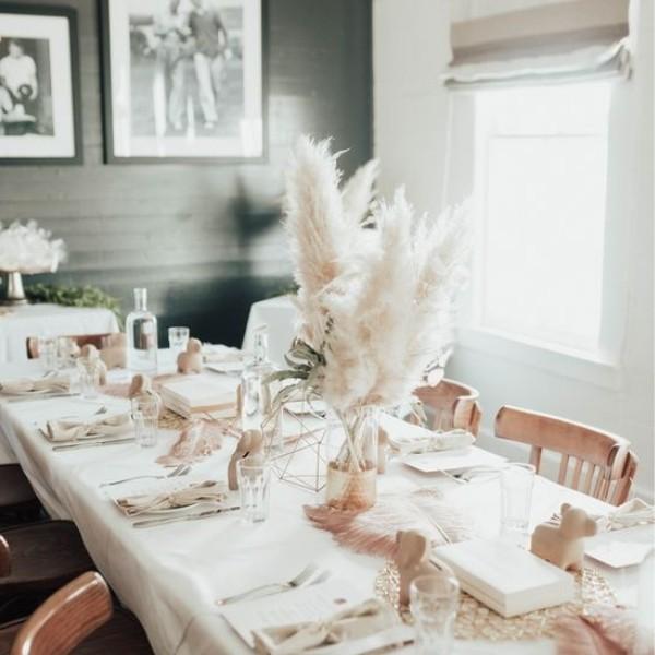 Easy & Affordable DIY Wedding Centerpiece - pampass grass