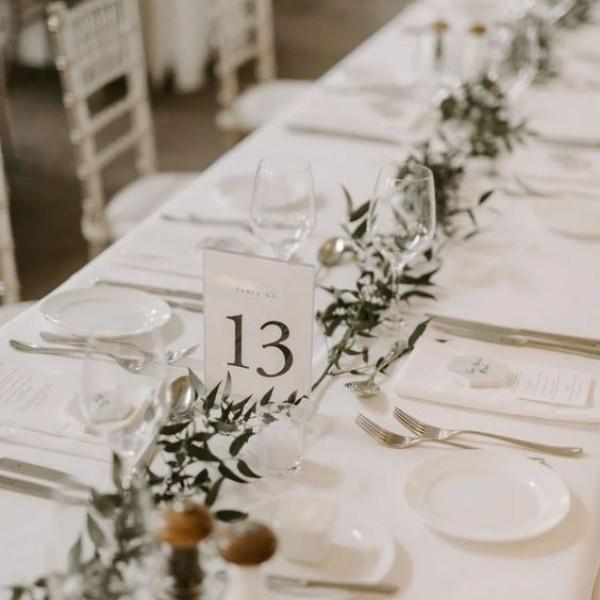Easy & Affordable DIY Wedding Centerpiece - greenery garland