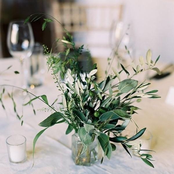 Easy & Affordable DIY Wedding Centerpiece - greenery