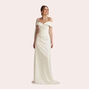(1) Crepe Off-the-Shoulder Sheath Wedding Dress