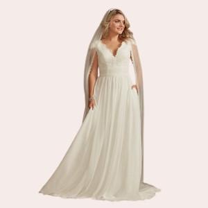 (10) Lace Illusion Back Chiffon Wedding Dress  