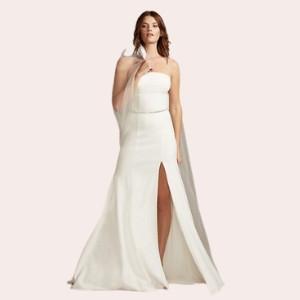 (2) Strapless Crepe Button Back Wedding Dress