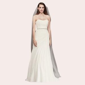 (3) Crinkle Chiffon Wedding Dress with Draping