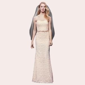 (4) Guipure Lace Sheath Wedding Dress with Ribbon Sash  
