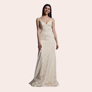 (5) White by Vera Wang V-Neck Floral Lace Slip Dress  