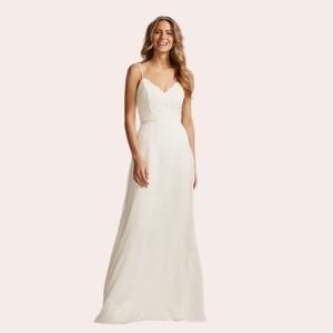 (7) Scalloped V-Neck Corded Lace Bodice A-Line Dress  