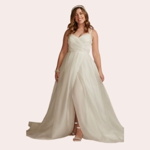 (8) Pleated Organza A-Line Wedding Dress with Slit  