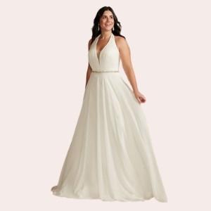 (9) Chiffon Halter Plunge Beaded Waist Wedding Dress