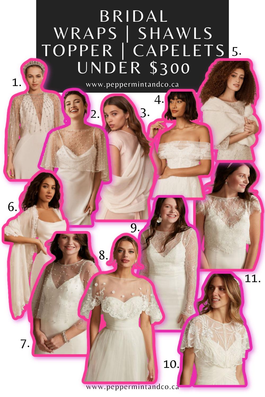 Bridal Wraps, Shawls, Topper & Capelets under $300