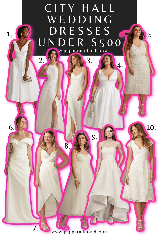 City Hall Wedding Dresses Under $500