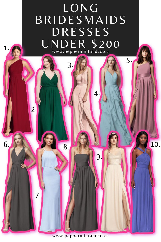 Long Bridesmaids Dresses Under $200