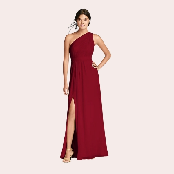 (1) Long One-Shoulder Crinkle Chiffon Dress | You'll love the feel of crinkle chiffon on this flowy floor-length bridesmaid dress with a one-shoulder neckline and an elegant skirt slit.