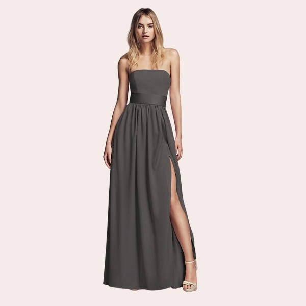 (10) Y-Neck Long Mesh Dress | Ruched, pleated, and flowing, this long mesh bridesmaid dress has a Grecian goddess feel.
