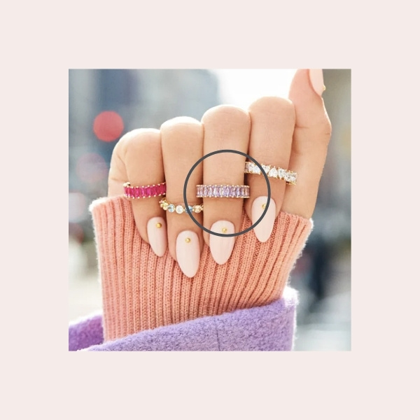 BAUBLEBAR Mini Alidia Baguette Ring $48.00 | Baguette-cut cubic zirconia line the circumference of this sparkling ring that's perfect for stacking.