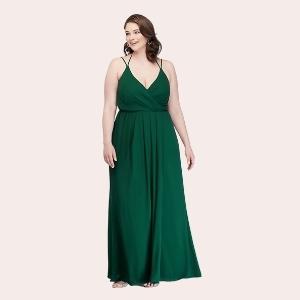 2) Double-Strap Long Georgette Bridesmaid Wrap Dress |