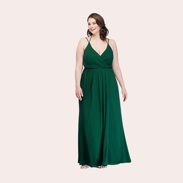 (2) Double-Strap Long Georgette Bridesmaid Wrap Dress | This long georgette bridesmaid dress features true wrap styling, with ties beneath a draped surplice bodice to keep everything in place. A classy side slit offers the perfect opportunity to flaunt some fun shoes.