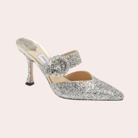 JIMMY CHOO Marta Crystal Buckle Glitter Pointed Toe Mule $950.00