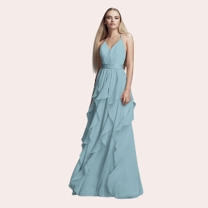 (3) Long One-Shoulder Bridesmaid Dress with Ruffles