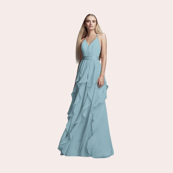 (3) Long One-Shoulder Bridesmaid Dress with Ruffles | This long chiffon bridesmaid dress is a work of art with waves of ruffles that fall from the one-shoulder neckline to the floor.