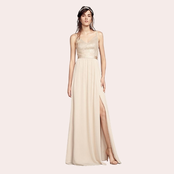 (4) Chiffon Bridesmaid Dress with Cascading Skirt | A sleek dress for modern 'maids, this surplice-bodice chiffon bridesmaid dress from White by Vera Wang is suspended by skinny halter straps and adorned with cascading ruffles. A satin sash finishes the look.