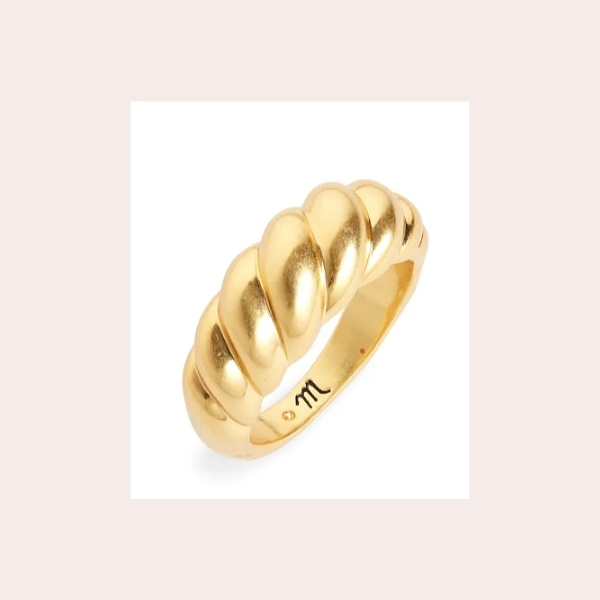 MADEWELL Puffed Dome Ring $28.00 | Made of shiny goldtone-plated brass, this chunky dome ring has a sculptural shape inspired by classic '80s jewelry.
