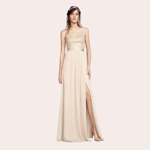 (4) Chiffon Bridesmaid Dress with Cascading Skirt