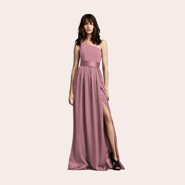 (6) Long Chiffon Dress with Low Crisscross Back | Stunning in its simplicity, this long chiffon dress features luminous touches of satin at the waistline and crisscrossing back straps.