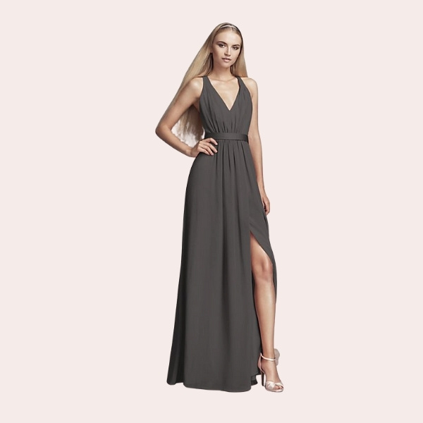 (7) Flounced Crinkle Chiffon Sheath Bridesmaid Dress | In search of a sophisticated bohemian wedding party look? This is the dress. The crinkle chiffon halter sheath is graced with a lovely high neck and a flattering flounce at the bodice.