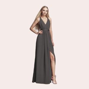 (7) Flounced Crinkle Chiffon Sheath Bridesmaid Dress