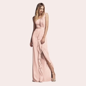 (8) Long Strapless Bridesmaid Dress with Belt