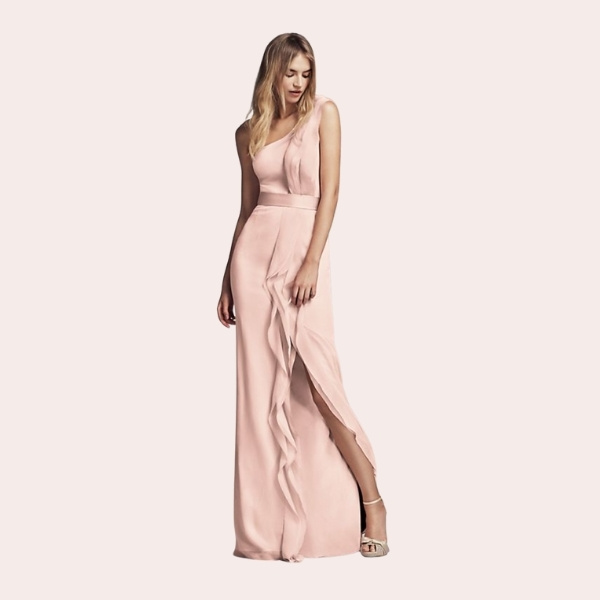 (8) Long Strapless Bridesmaid Dress with Belt | This floor-length crepe and charmeuse bridesmaid dress exudes sophistication with a straight strapless neckline and satin trapunto-stitched belt at the waist.
