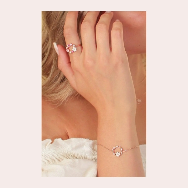 LA MENO Dazzling Sloane Summer Is Mine Ring $48.00 | This organically inspired ring with a rosy array of stones brings dainty shine and gentle color to casual looks.
