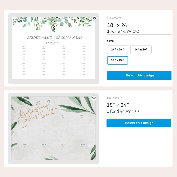Easy Wedding Escort and Place Card Guide - seating chart sample